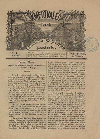 Kmetovalec: list slovenskim gospodarjem v poduk 1876 02 29