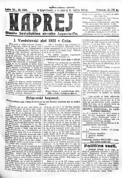 Naprej; Glasilo Socialistične stranke Jugoslavije 1922 07 09