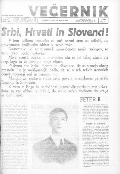 Mariborski večernik Jutra 1941 03 27