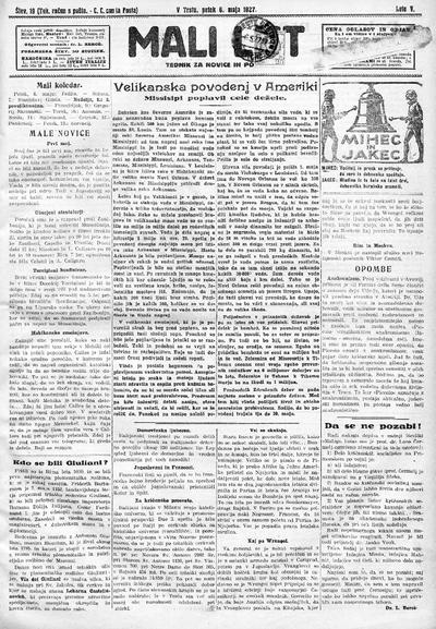 Mali list; tednik za novice in pouk 1927 05 06