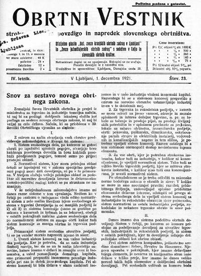 Obrtni vestnik; strokovni list za povzdigo in napredek slovenskega obrtništva 1921 12 01