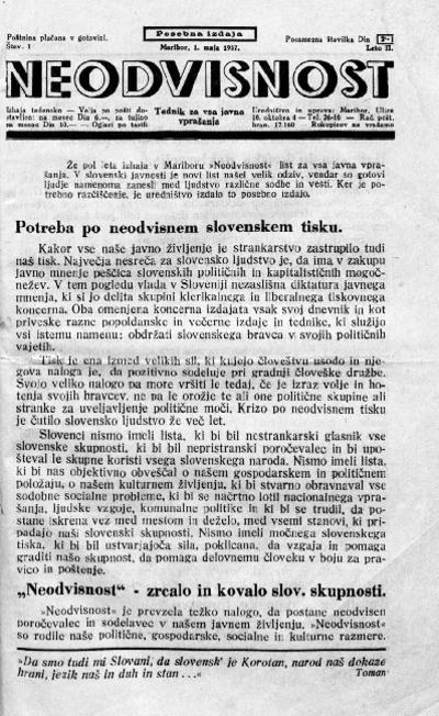 Neodvisnost; tednik za vsa javna vprašanja 1937 05 01