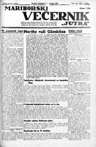 Mariborski večernik Jutra 1936 10 05