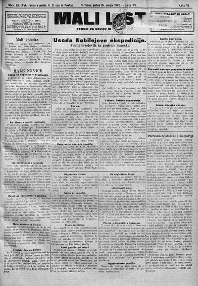 Mali list; tednik za novice in pouk 1928 06 15