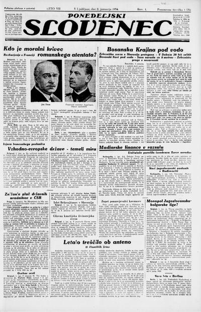 Ponedeljski Slovenec 1934 01 02