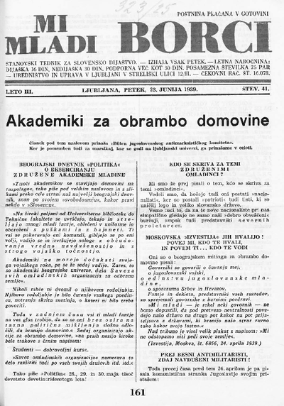 Mi mladi borci; stanovski tednik za slovensko dijaštvo 1939 06 23