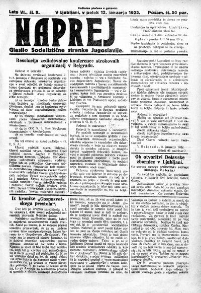 Naprej; Glasilo Socialistične stranke Jugoslavije 1922 01 13