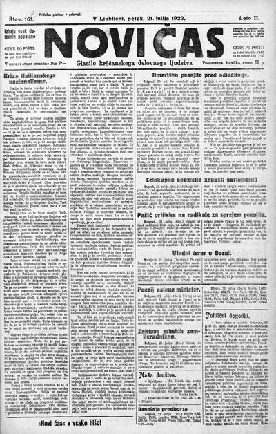 Novi čas; glasilo krščanskega delovnega ljudstva 1922 07 21