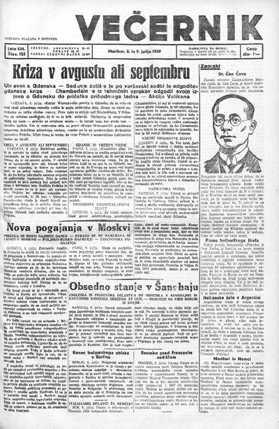 Mariborski večernik Jutra 1939 07 09