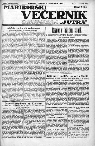Mariborski večernik Jutra 1933 01 05