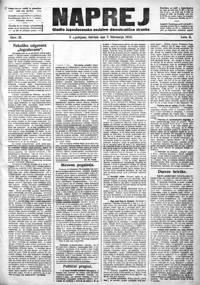 Naprej; Glasilo jugoslovanske socialno demokratične stranke 1918 02 07