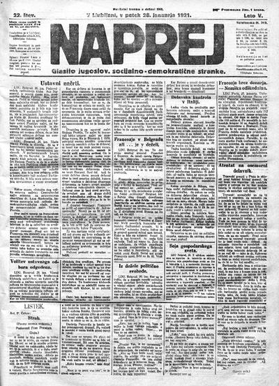 Naprej; Glasilo jugoslovanske socialno demokratične stranke 1921 01 28