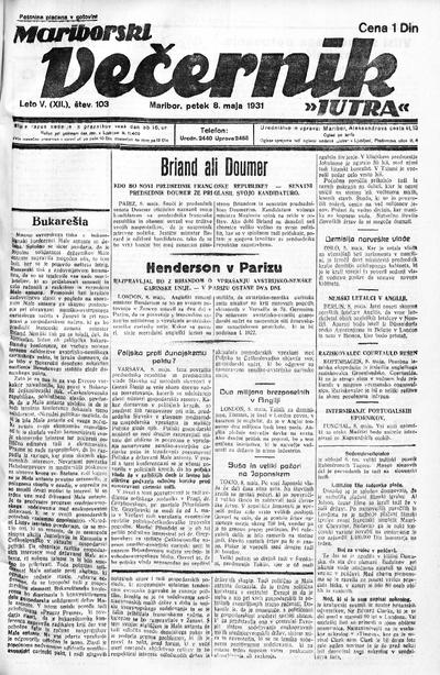 Mariborski večernik Jutra 1931 05 08