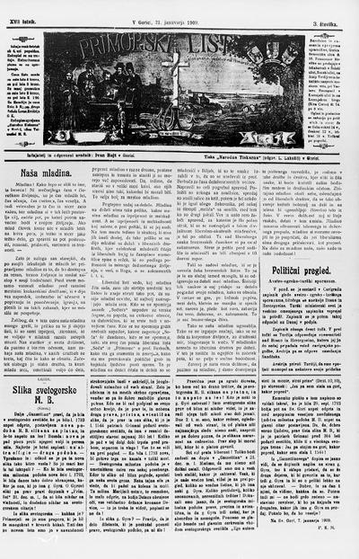 Primorski list; Poučljiv list za slovensko ljudstvo na Primorskem 1909 01 21