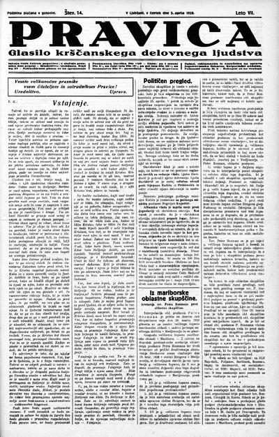 Pravica; glasilo krščanskega delovnega ljudstva 1928 04 05