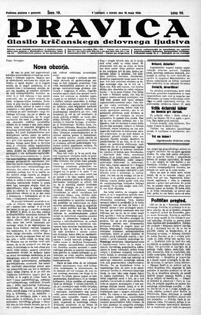 Pravica; glasilo krščanskega delovnega ljudstva 1928 05 10