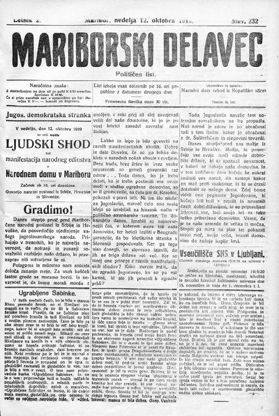 Mariborski delavec; neodvisen delavski list za mesto in okolico 1919 10 12