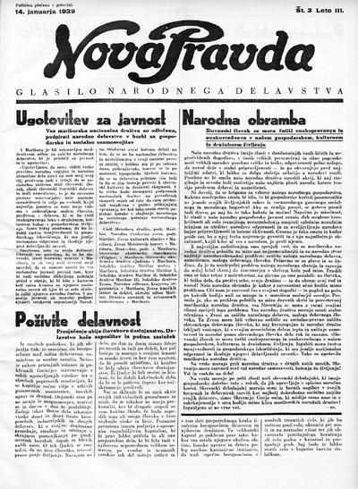 Nova pravda; glasilo narodnega delavstva 1939 01 14