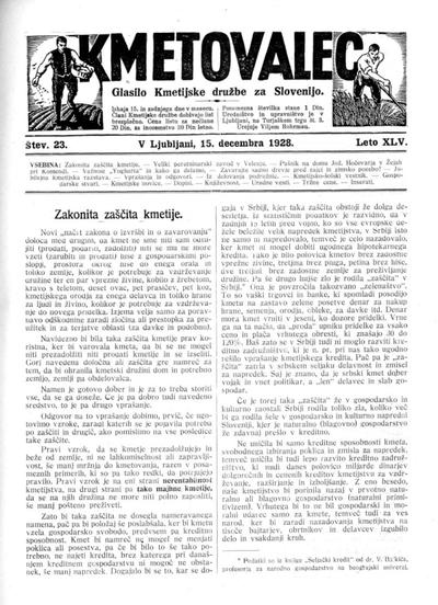 Kmetovalec: gospodarski list s podobami 1928 12 15