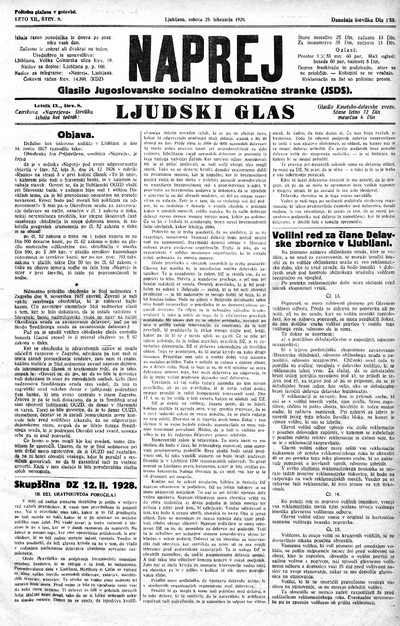 Naprej; Glasilo Jugoslovanske socialno demokratične stranke; Ljudski glas 1928 02 25