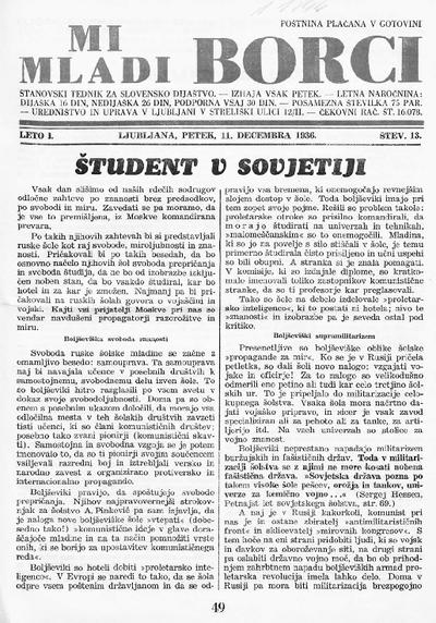 Mi mladi borci; stanovski tednik za slovensko dijaštvo 1936 12 11