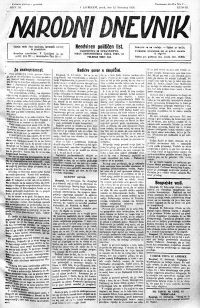 Narodni dnevnik 1926 02 12