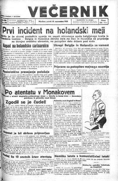 Mariborski večernik Jutra 1939 11 10