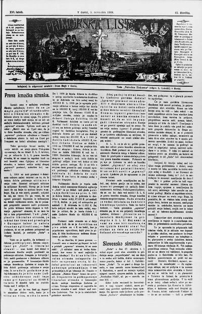 Primorski list; Poučljiv list za slovensko ljudstvo na Primorskem 1908 11 05