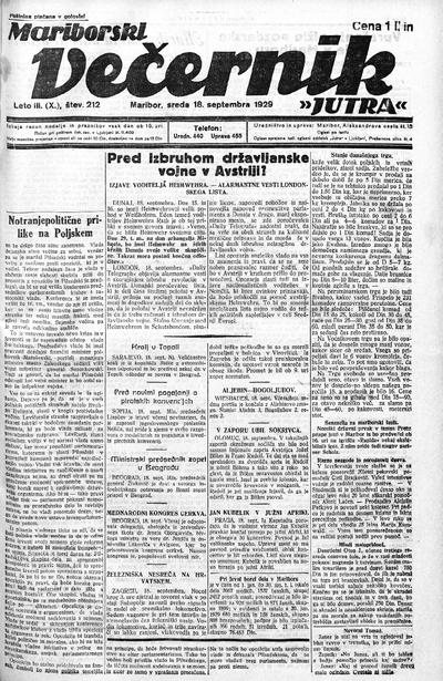 Mariborski večernik Jutra 1929 09 18