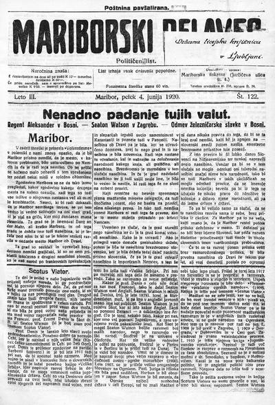 Mariborski delavec; neodvisen delavski list za mesto in okolico 1920 06 04