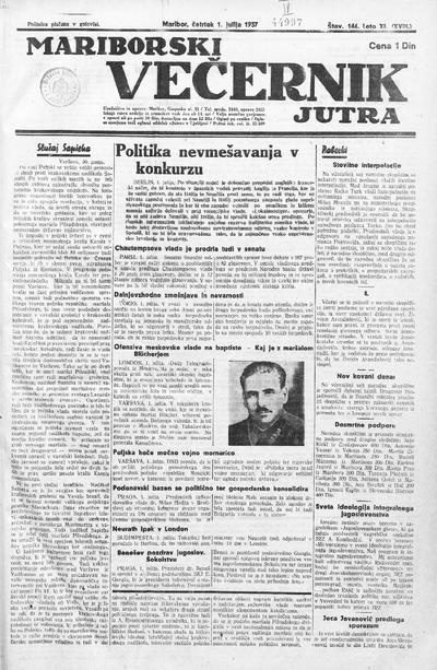 Mariborski večernik Jutra 1937 07 01