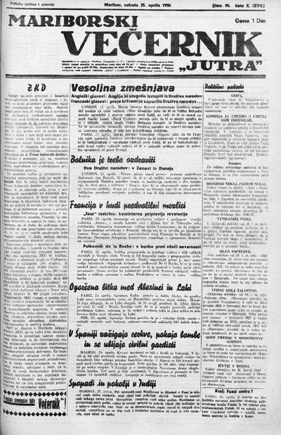 Mariborski večernik Jutra 1936 04 25