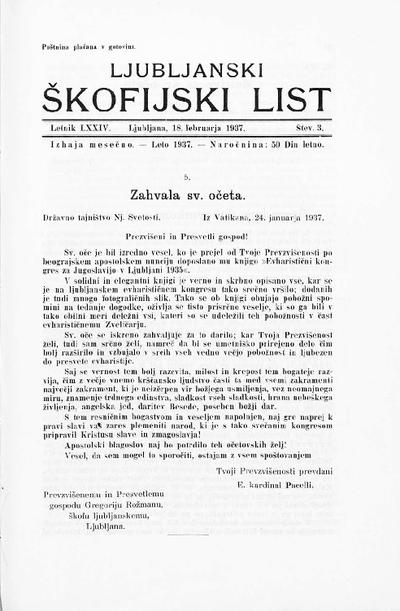Ljubljanski škofijski list ; Laibacher Diöcesanblatt 1937 02 18