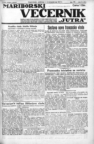 Mariborski večernik Jutra 1933 02 01