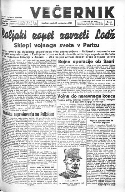 Mariborski večernik Jutra 1939 09 13