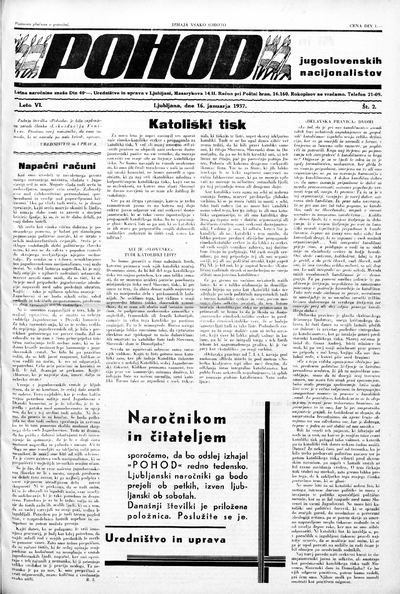 Pohod jugoslovenskih nacijonalistov 1937 01 16