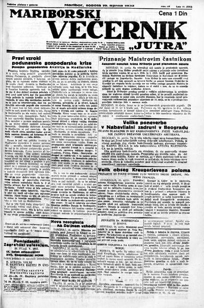 Mariborski večernik Jutra 1932 04 16