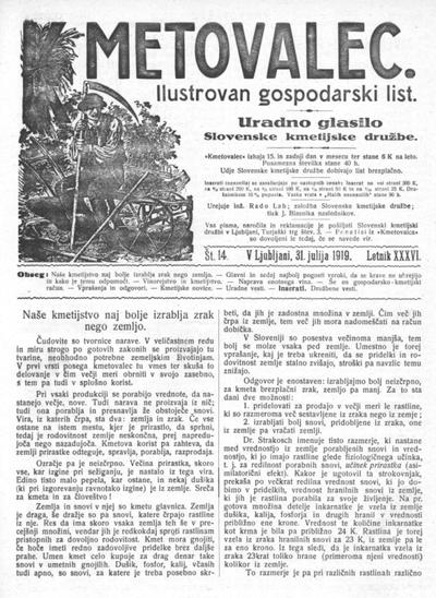 Kmetovalec: gospodarski list s podobami 1919 07 31