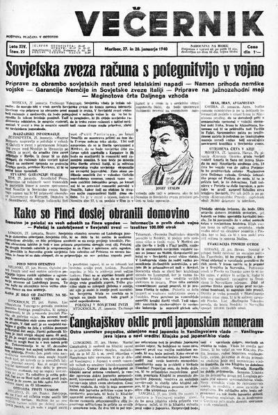 Mariborski večernik Jutra 1940 01 28