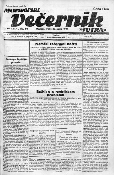Mariborski večernik Jutra 1931 04 22