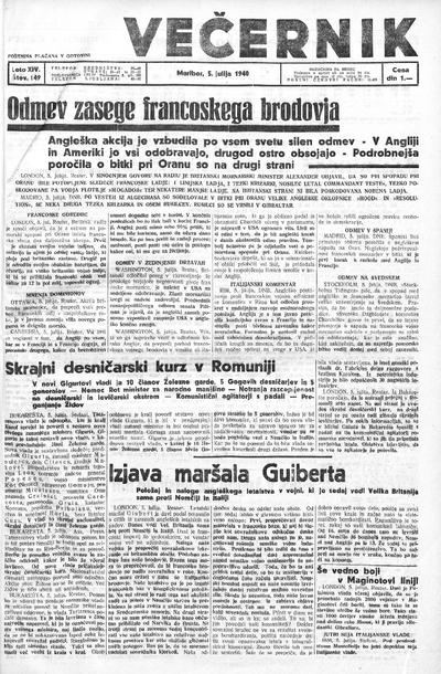 Mariborski večernik Jutra 1940 07 05