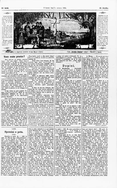 Primorski list; Poučljiv list za slovensko ljudstvo na Primorskem 1904 10 06