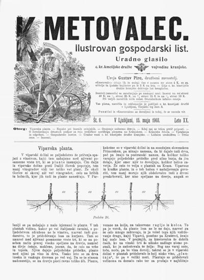 Kmetovalec: gospodarski list s podobami 1903 05 15