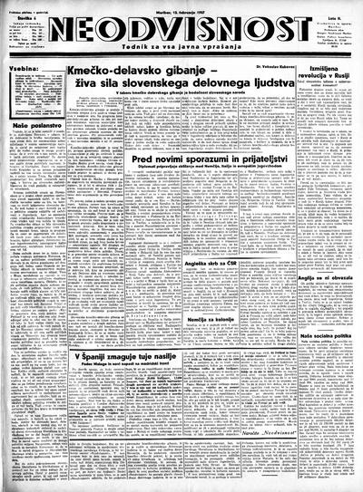 Neodvisnost; tednik za vsa javna vprašanja 1937 02 13