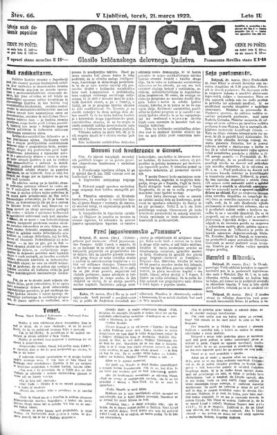 Novi čas; glasilo krščanskega delovnega ljudstva 1922 03 21