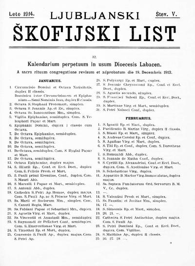 Ljubljanski škofijski list ; Laibacher Diöcesanblatt 1914