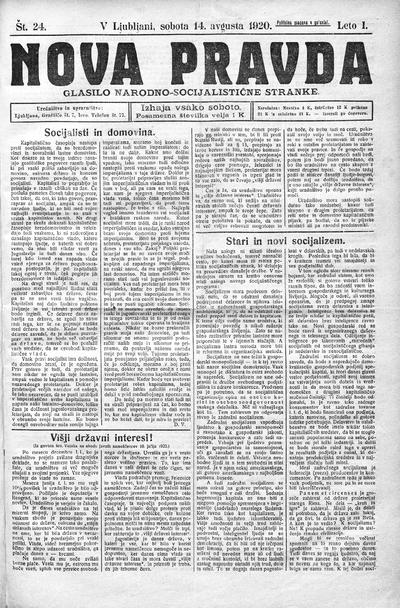 Nova pravda; glasilo Narodno-socijalistične stranke 1920 08 14