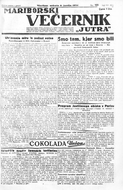 Mariborski večernik Jutra 1934 06 09
