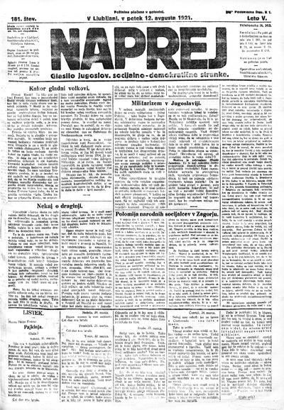 Naprej; Glasilo jugoslovanske socialno demokratične stranke 1921 08 12