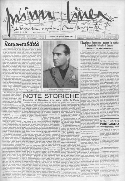 Prima linea; settimanale della Federazione dei fasci di combattimento di Lubiana 1943 06 26